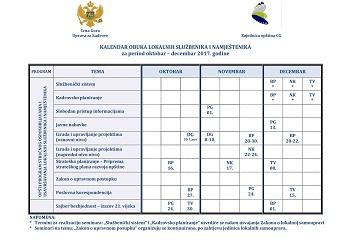 Kalendar obuka oktobar-decembar UZK-ZO 2017